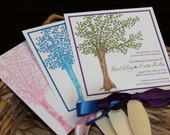 Watercolor Tree Wedding Fan Programs **Front and Back Sides Fully Customized**