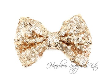 Champagne Large Sequin Bows 4 inch Bows- Bow Applique, Sequin Bow, Large Bows, Big Bows, Wholesale Bows, Sequin Bow Tie, Sequin Bow Headband