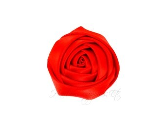 Red Folded Satin Rolled Flowers Rosettes 2 inch - Red Satin Flowers, Red Hair Flowers, Red Flowers For Headbands, Red Satin Flowers