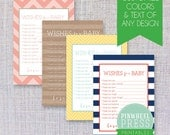Design Your Own Baby Wish Cards - Print Yourself - Baby Book Keepsake - Baby Shower Game