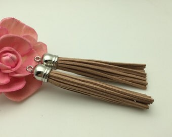 50 Pieces 86x12MM Red Taupe Color Faux Suede Leather Tassel With Plastic Silver Top Cap,Phone Accessories, Necklace Tassel Pendant