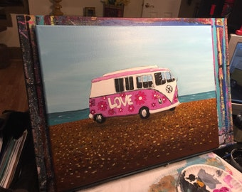 24 x 18 VW Bus titled All you need is love