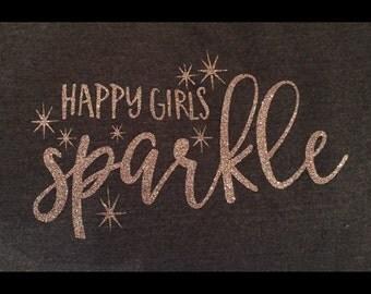 Happy girls sparkle tee