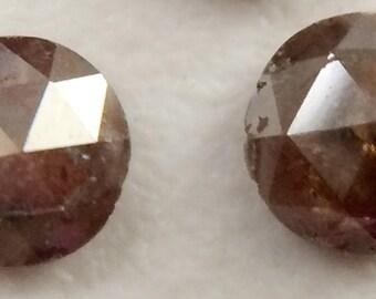 2 Pcs Brown Rose Cut Diamond, Brown Natural Rough Diamond, Brown Raw Diamond, 5mm, 2 CTW - DS144