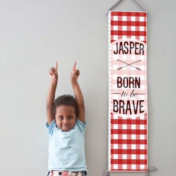 "Custom/ Personalized Red Plaid ""Born to be Brave"" canvas growth chart"