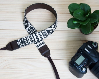 B11-Black and White Navajo/Native American/Graphic Camera Strap for DSLR , Mirror Less ,Compact