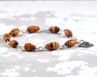 Handmade Paper Bead Bracelet Orange Striped Multicolour Recycled Jewellery with Heart Charm Made in Australia by DeeDeeDeesigns