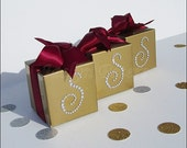 Personalized Gold Favor Boxes, Silver Rhinestone Initial, Wedding Candy Box, 50th Anniversary, Birthday Party, Choice Of Ribbon,Set Of 48