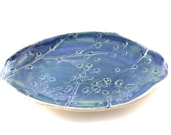 Wildflower Platter - Dark Blue and White
