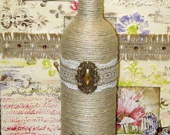 Boho Chic Hemp Cord Wrapped Upcycled Burlap Lace Wine Bottle Indie Home Decor Art Bohemian Hippie Cottage Shabby Chic