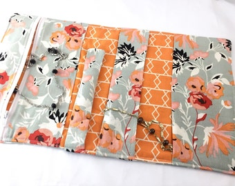 Travel Jewelry Organizer Travel Jewelry Roll Fabric Jewelry Pouch Travel Jewelry Case Bag   Riley Blake Apricot and Persimmon Apricot Main