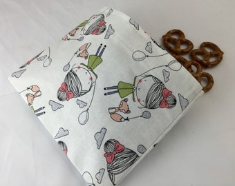 Reusable Snack Bag - Reusable Baggie - Fox Snack Bag - Fabric Snack Bag - Reusable Fabric Snack Bag - Girl and Fox Friends