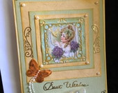 Card greeting best wishes shabby chic fancy soft look girl butterfly and bird