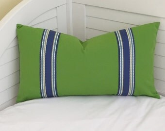 Sunbrella Green Indoor Outdoor Lumbar Pillow Cover with Trim Tape