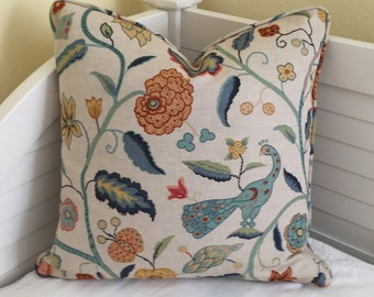 Schumacher Apsley Vine in Apricot and Teal Designer Pillow Cover With or Without Piping - Square, Lumbar and Euro Sizes