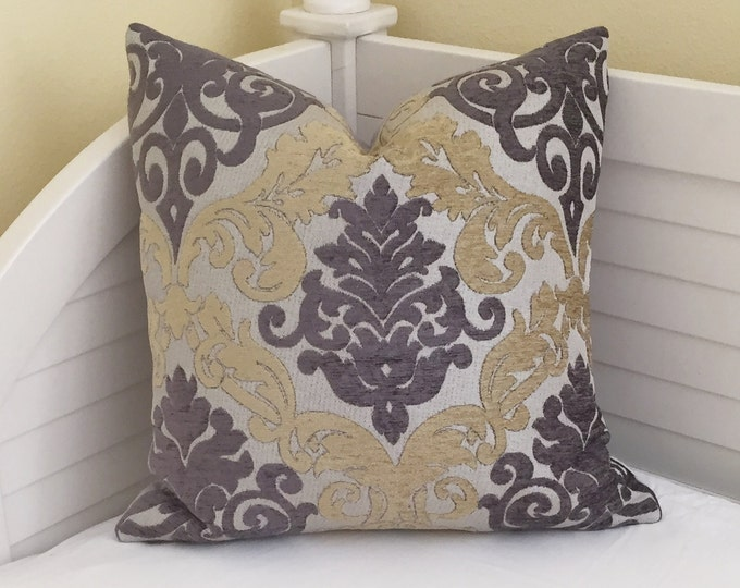 LABOR DAY SALE, Gray and Yellow Medallion Damask Designer Pillow Cover20x20
