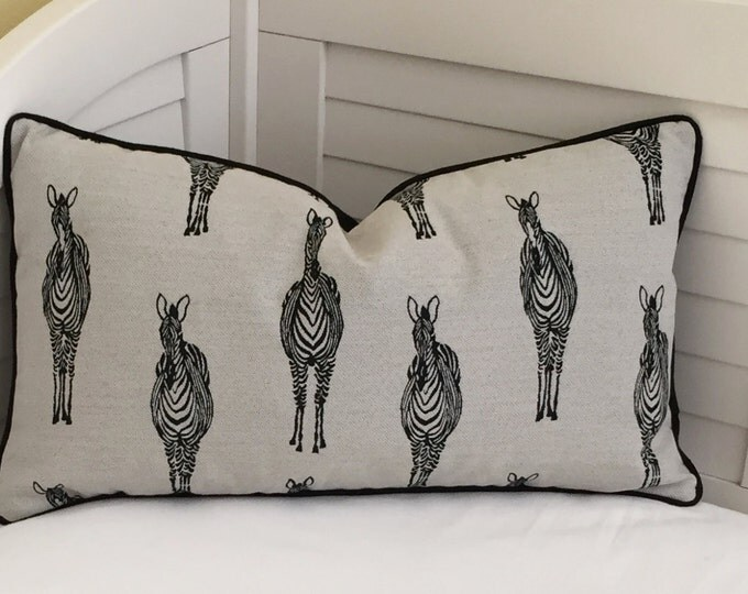 Zebras in  Black Designer Pillow Cover with Black Piping- Square, Lumbar, and Euro Sizes