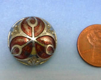 Red Flower Antique Button Victorian Buttons 7/8 inch Large Glass Button 78