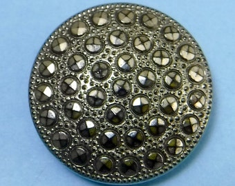 Vintage Glass Button large Hematite Art Deco Ornate Vintage Button 365