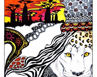 Safari, A4 Fine Art Illustration Print - Africa, Lion, Animal Print, Baobab Trees