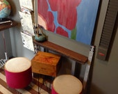 Rustic French Wine Crate Wooden Accent Table Assemblage