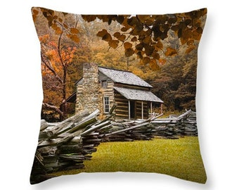 Appalachian Mountain Oliver Cabin in Cade's Cove in the Smoky Mountains during Fall No.447 novelty throw pillow Home Décor cushion cover