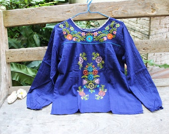 L-XL Long Sleeves Bohemian Embroidered Top - Navy Blue