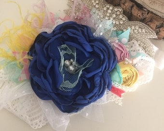 Blue baby flower headband cozette couture
