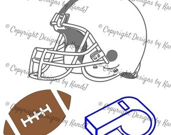 Football SVG Football helmet svg Football whistle digital cut file  svg Instant download