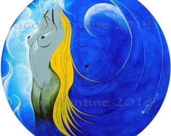 Sacre Bleu - a Mermaids Tale new original acrylic painting