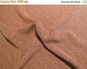 ON SALE SPECIAL--CHcolate Brown and Beige Classic Herringbone Polyester Fabric from Italy--One Yard