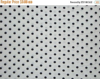ON SALE Black on White Polka Dot Print Pure Cotton Fabric-One Yard