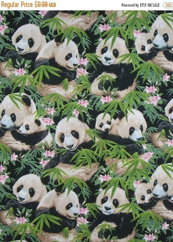 ON SALE Panda Print Pure Cotton Fabric from Elizabeth's Studio--One Yard