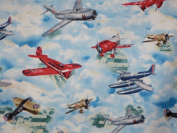 2 remnants colorful vintage airplane print pure cotton for Airplane print cotton fabric