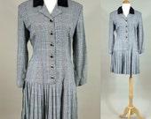 80s Plaid Mini / Vintage 1980s Mini Dress / Vintage 80s Drop Waist Mini / 1980s Vintage Black and White Plaid Mini Dress /Vintage 80s Dress