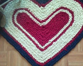 "Heart Rag Rug ~ Crocheted ~ 30"" x 24"" ~ Reversible ~ Washable n Dryable ~ Primitive Heart Rag Rug ~ Country rag rug ~ Americana Rag Rug"