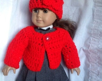 Red sweater hat set for doll