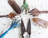 7 Vintage  Metal Rusty Garden Claw Tools . Think Spring . Instant Collection Vintage Garden Decor