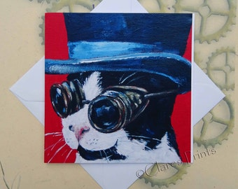 Steampunk Cat Card Kitty Greeting From my Original Acrylic Painting