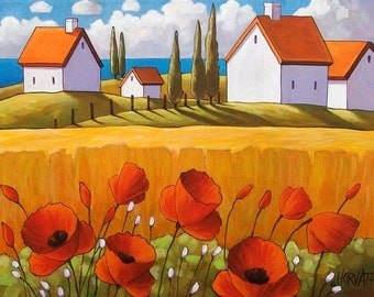 Poppy Garden Seaside Art Print by Horvath, 5x7 Giclee Red Flowers Yellow Fields Ocean Cottages, Folk Artwork Landscape Decor SoloWorkStudio