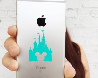 Disney World Castle Cinderella Castle Mickey Mouse Die Cut Vinyl Phone Decal, Choose Your Color!