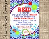 Water Party, Splish Splash Birthday Bash, Backyard Water Birthday Party Invitation - Print your own