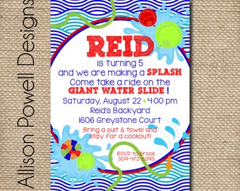 Water Party Splish Splash Birthday Bash Backyard Invitation