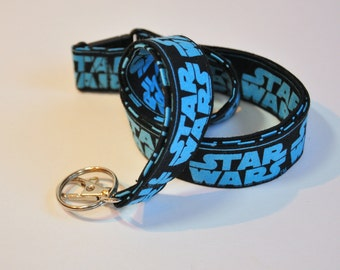 Star Wars Lanyard - ID Badge Holder - Teacher lanyard - Geek lanyard - Breakaway clasp optional -  Fabric lanyard Blue on black