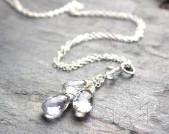 Crystal Quartz Necklace Waterfall Teardrop Pendant Necklace, Sterling Silver