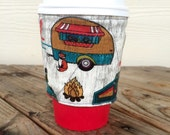 Camping and Arrows Coffee Cozy Reversible Coffee Lover Gift for Him Christmas Stocking Stuffer