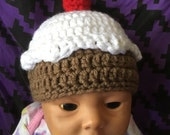 Custom Order for lalalilla: Ice Cream (with a cherry on top) Beanie x2 - Newborn Sizes