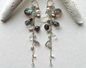 Labradorite Cluster Earrings, Moonstone Dangle Earrings, Blue Grey Long Dangle Earrings, Gemstone Dangle Cluster, Boho Gemstone Dangle,