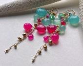 Pink Aqua Dangle Earrings, Hot Pink Cluster Earrings, Aqua Gemstone Dangle, Long Bohemian Earrings, Bohemian Gemstone Earrings