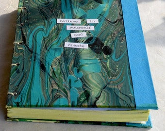 Emerald Inspiration Journal, Coptic Journal, Marbled Paper Journal, Hardcover Journal